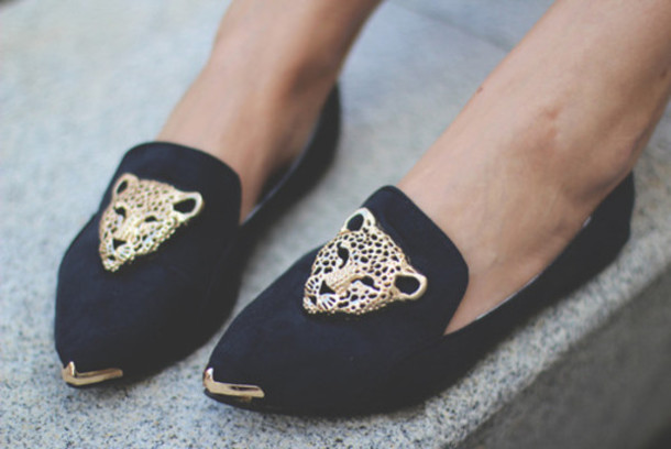Shoes Loafers Leopard Print Fashion Black Shoes Swag