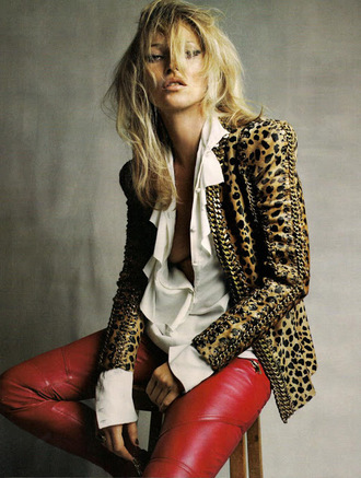 jacket leopard print leather jacket kate moss gold chain