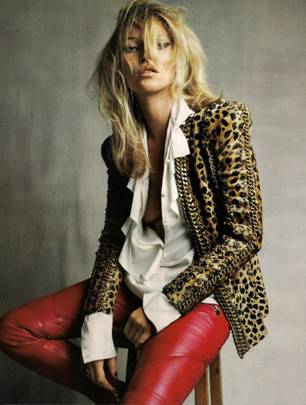 kate moss jacket leopard print leather jacket gold chain