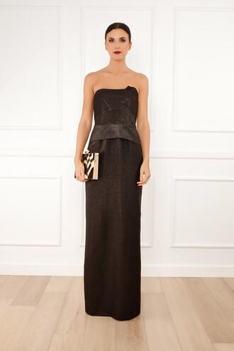 gown strapless black dress