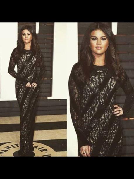 dress gown long selena gomez black gramys black dress sexy dress selena gomez dress