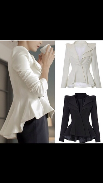 jacket blazer high low white blazer black blazer classy