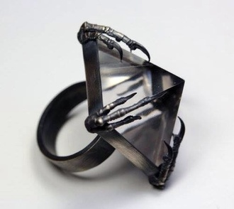 jewels claw ring big black jewels