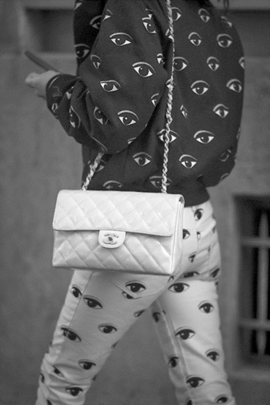 bag eyeball eye eyes jeans clothes pants black and white sweater
