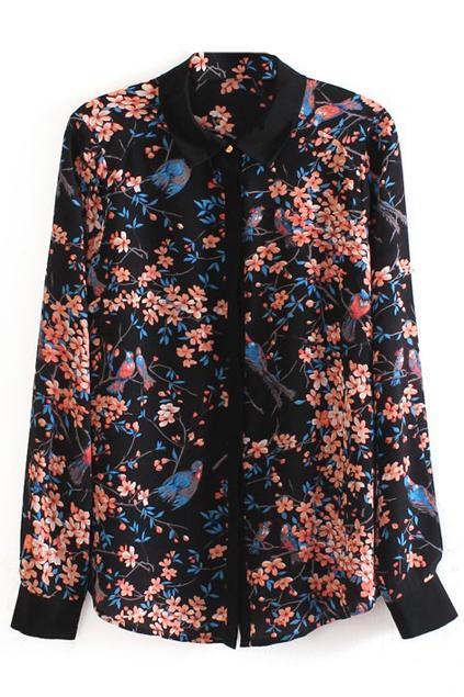 ROMWE | Birds Flowers Printed Silk Shirt, The Latest Street Fashion
