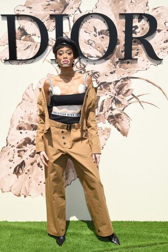 top bra bralette pants winnie harlow dior fashion week 2017 paris fashion week 2017 model off-duty jacket