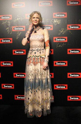 dress nicole kidman maxi dress long sleeve dress gown special occasion dress formal dress valentino boho dress