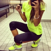 shirt,neon yellow,girly,fit,sportswear,running shoes,short,short party dresses,shoes,neon nike,workout,yellow,black,top,t-shirt,colorful,leggings,nike,nike workout