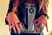 shirt,clothes,nail polish,jewelry,ring,t-shirt,jacket