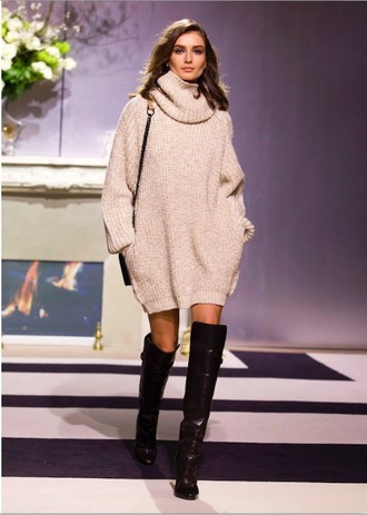 dress cute knit beige sweater sweater dress knitwear turtleneck knee high boots winter outfits fall outfits fall sweater white turtleneck sweater dress shoes oversized turtleneck sweater