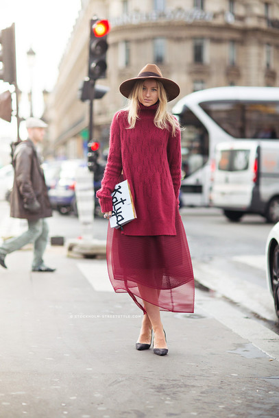 Sweater: sweater over dress, tumblr, burgundy, burgundy sweater ...