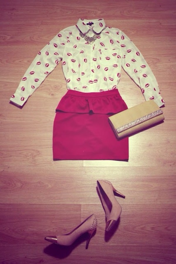 skirt red shirt blouse
