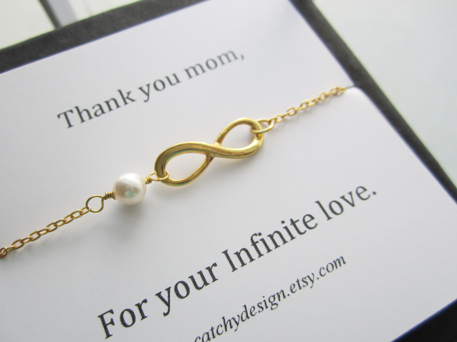 Infinity Bracelet For Mother Thank You Mom Infinite Love Card Gold
