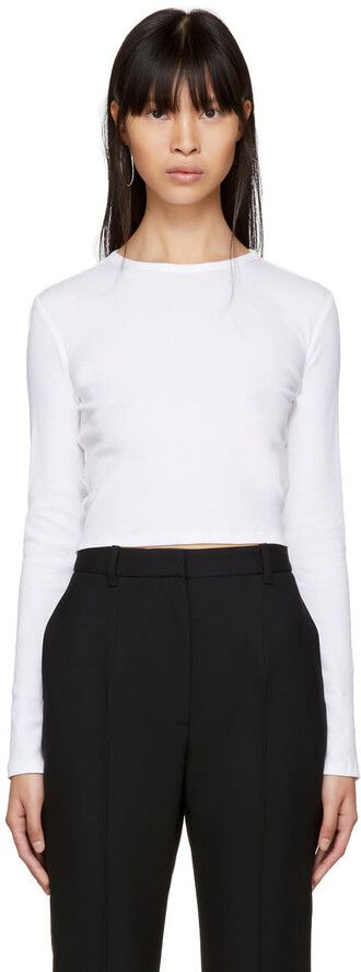 t-shirt shirt cropped t-shirt long cropped white top