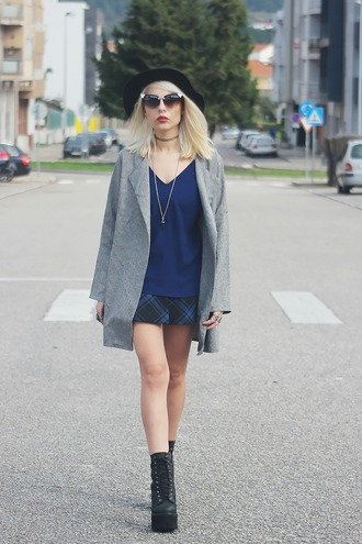 the black effect blogger grey coat platform lace up boots blue top tartan skirt