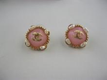 Chanel new designer logo stud earrings pink
