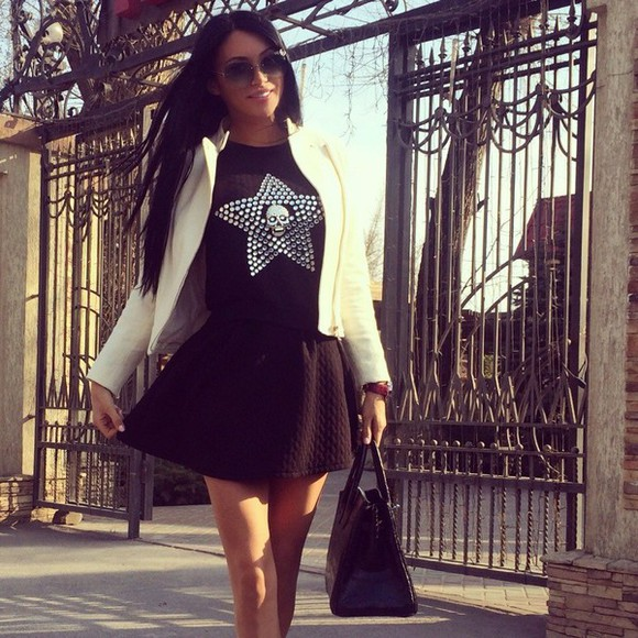 skull little black dress jacket