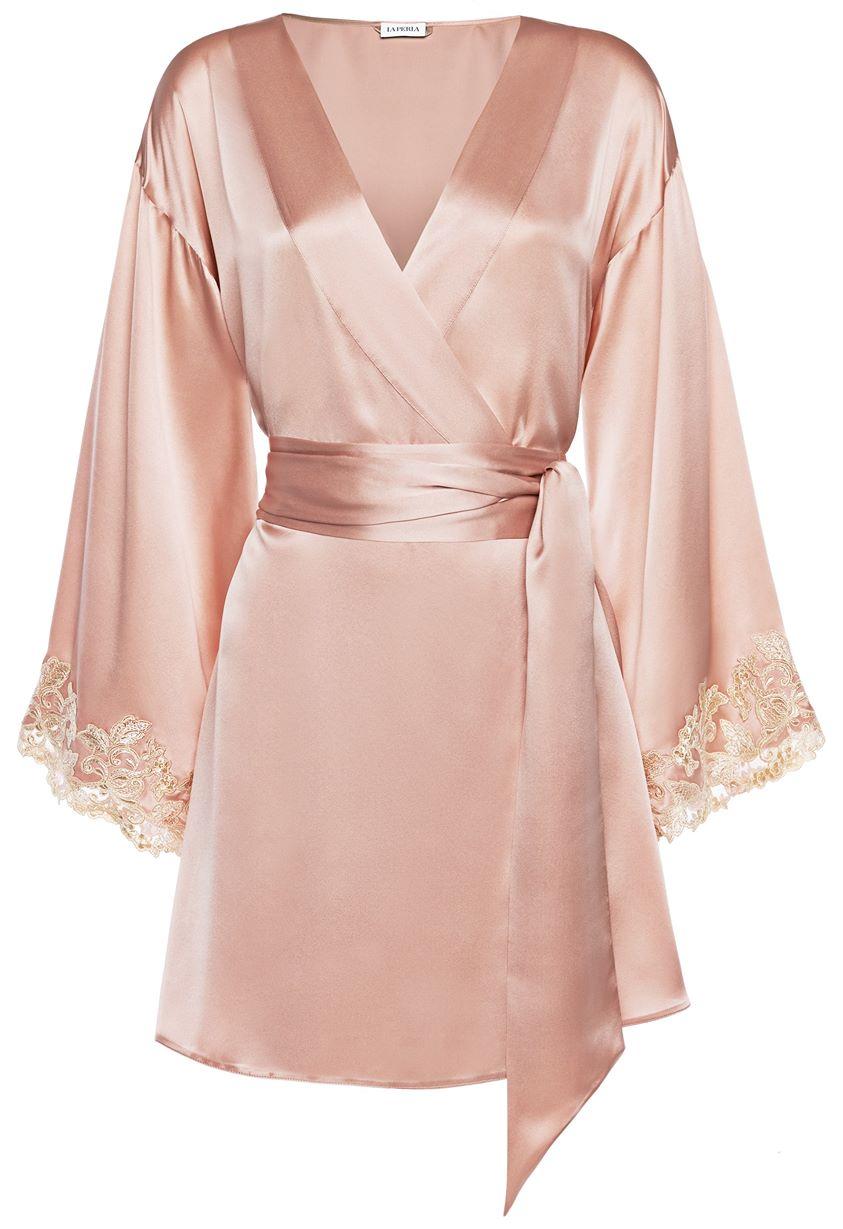 La Perla Maison Powder Pink Silk Satin Short Robe With Frastaglio Sleepwear & Loungewear Robes Pink - Raw044 8 - 10