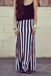 skirt,beetlejuice,split maxi skirt,black and white,side split