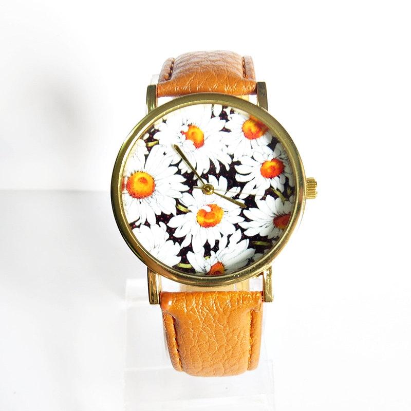 New! Summer Daisy Floral Watch, Vintage Style Leather Watch, Women Watches, Boyfriend Watch,