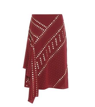 skirt embellished silk red