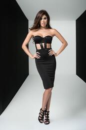 dress,sequin bustier outline,mapalé club wear,bustier dress,black,strapless,split in back,straps