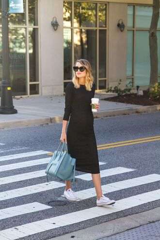 dress black midi dress midi dress black dress knitted dress bodycon dress three-quarter sleeves sneakers white shirt white sneakers low top sneakers converse white converse bag celine celine bag blue bag sunglasses cat eye black sunglasses