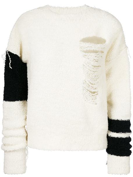 jumper oversized women white wool sweater