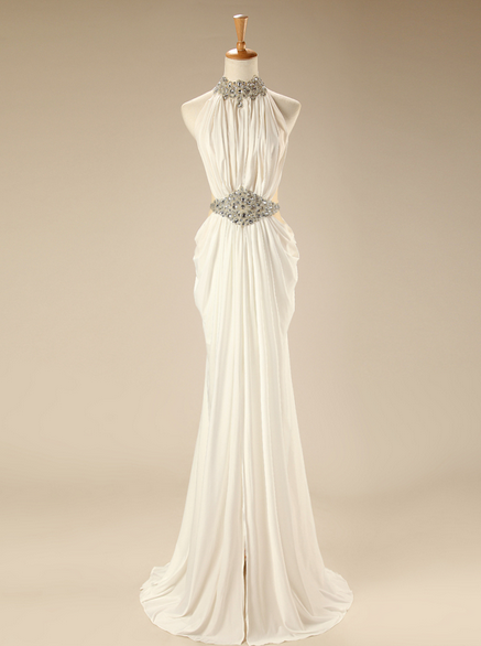 Crystal Beaded High Neck White Mermaid Long Prom Dress