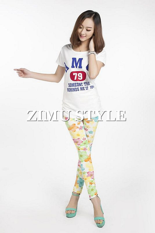 Japan and South Korea the new cotton colored flowers graffiti print leggings lady girls leggings pants free shipping-in Socks & Hosiery from Apparel & Accessories on Aliexpress.com