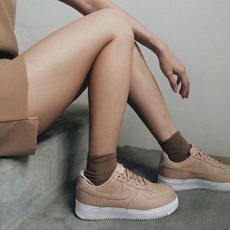 shoes nike brown light brown beige nike air force 1 nike air force nike air force low white white and brown