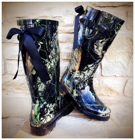 Black Camo Rain Boots with Custom Bows by PuddlesNRainBows on Etsy