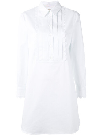 dress shirt dress women scalloped white cotton