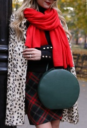 bag,tumblr,round bag,green bag,scarf,red scarf,plaid skirt,skirt,mini skirt,tartan,plaid,coat,printed coat,winter outfits