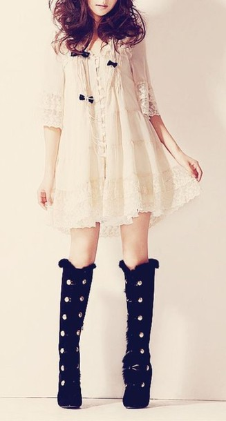 Dress pastel cute sweet nice kstyle korean fashion girly beige white japanese korean ...