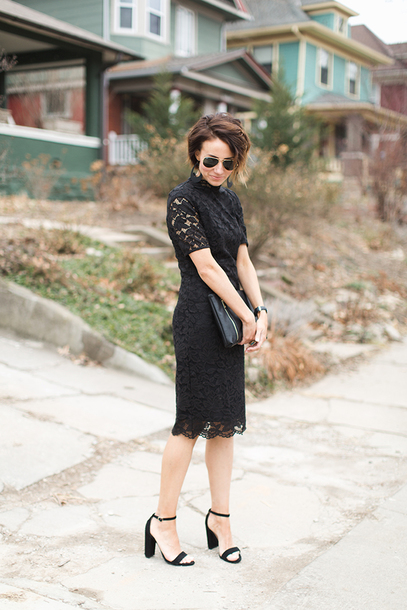 one little momma blogger dress shoes bag sunglasses jewels sandals high heel sandals black lace dress clutch