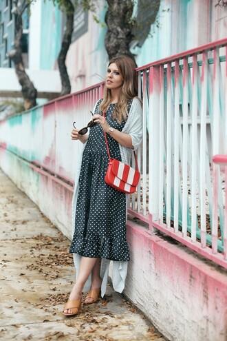 dress tumblr midi dress polka dots sandals mules high heels heels bag red bag cardigan sunglasses shoes