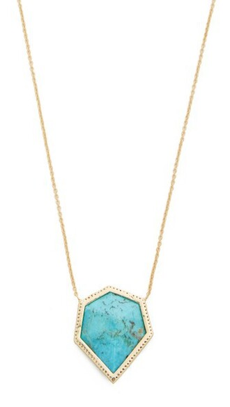stone necklace necklace gold turquoise jewels
