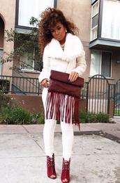 bag,oxblood,fall outfits,clutch,fringed bag,jacket,shoes,fringebag,handbag,fringehandbag,redbag,red,fringes,white pants,pants,white,blouse,coat