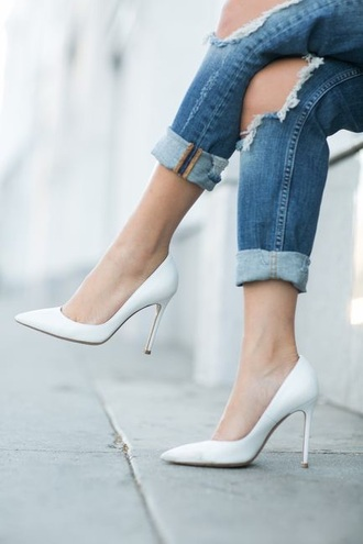 shoes white heels classic pointed toe pumps