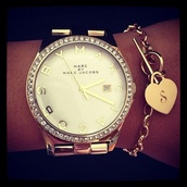 jewels,marc jacobs,watch,gold,big,nail polish,marc,jacobs,diamonds,hair accessory,bracelets,braclet,gold watch