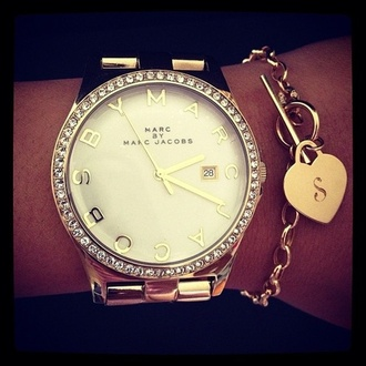 jewels marc jacobs watch gold big nail polish marc jacobs diamonds hair accessory bracelets braclet gold watch