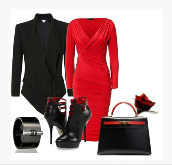 dress red dress v-neck dress long sleeve dress high heels black heels ankle boots coat jacket bracelet pointed coat bag purse clothes outfit ruched dress black coat