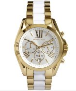 Michael Kors white and gold chronograph ceramic detail watch | BLUEFLY up to 70% off designer brands