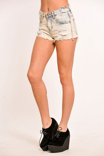 Latika Distressed Studded Acid Wash Shorts - Pop Couture