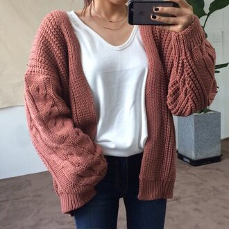 cardigan sweater pink knitted sweater knitted cardigan dusty pink oversized cardigan chunky knit waistcoat