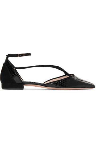 GIORGIO ARMANI python flats suede black shoes