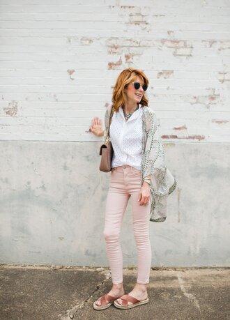 themiddlepage blogger blouse jeans shoes bag jewels sunglasses