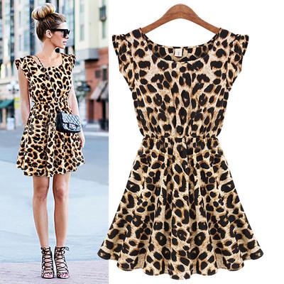 neue mode damen slim fit rundhals Leoparden kurzarm hohe taille kleid