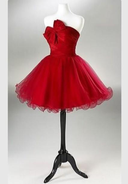 Dress: red, red dress, bow, cute, christmas, christmas dresses ...